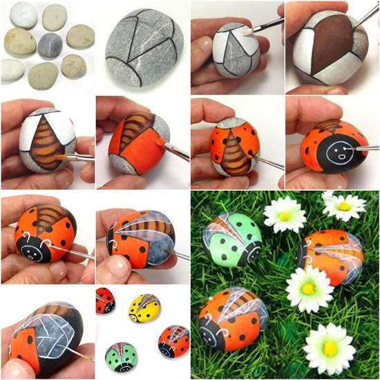 How to Paint Pebble Ladybugs