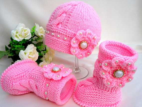 Knit Baby Hat Booties Patterns BeesDIY.com