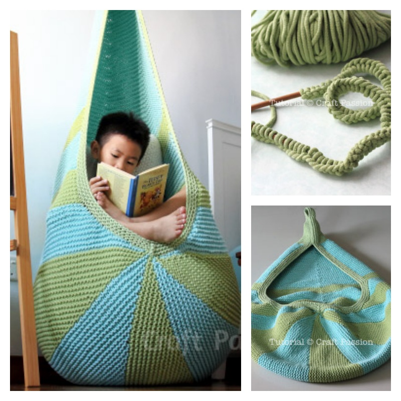 Hanging Cocoon Seat Crochet Pattern Free : Knit Cocoon Hanging Seat (Free Pattern) BeesDIY.com