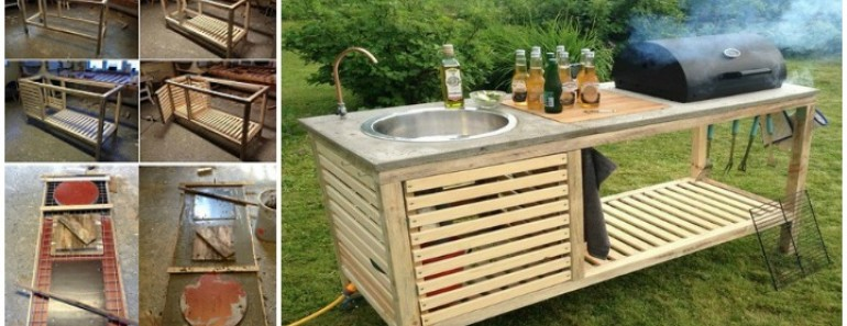 Outdoor DIY Portable Kitchen Tutorial | BeesDIY.com