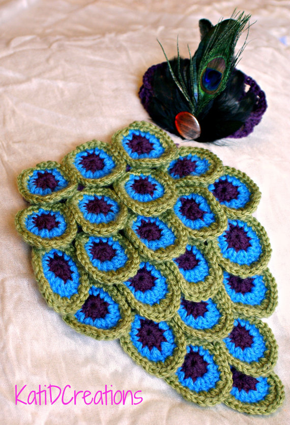 Free Crochet Pattern Peacock Feather Afghan : Pretty Crochet Peacock Feather Patterns Round Up BeesDIY.com