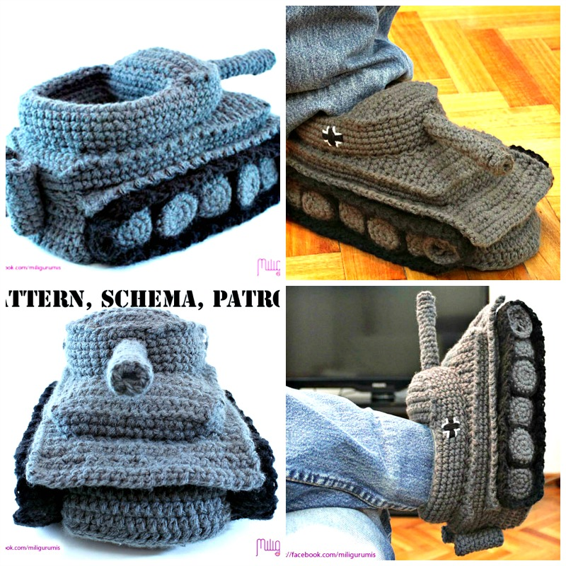 Super Cool Crochet Tank Slippers Pattern | BeesDIY.com