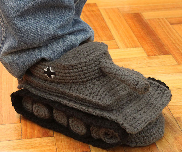 Super Cool Crochet Tank Slippers2