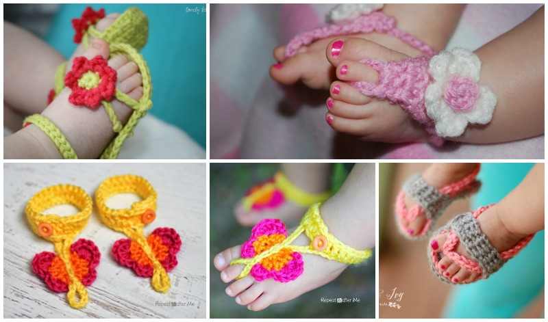 Crochet Baby Sandals ( FREE Patterns) | BeesDIY.com