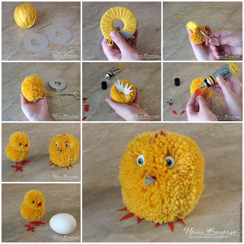 Cute pom pom diy easter chicks for Cute pom pom crafts