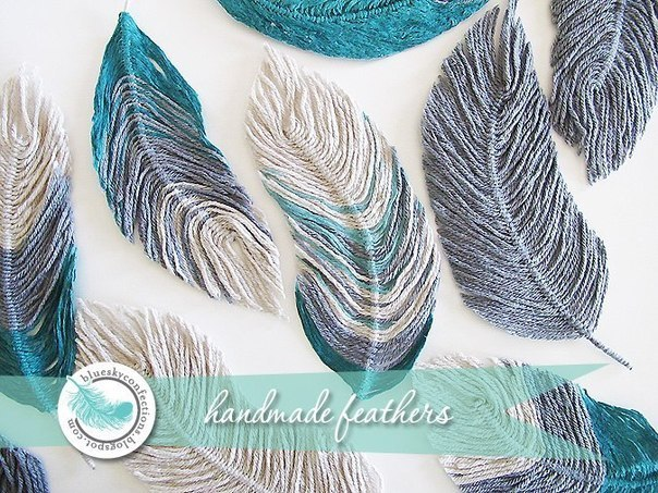 DIY Handmade Yarn Feather2