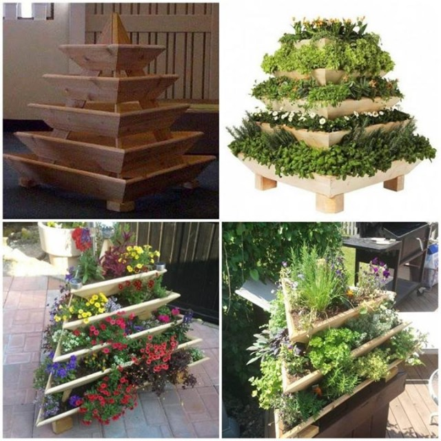 Diy vertical garden pyramid planter for Vertical garden planters diy
