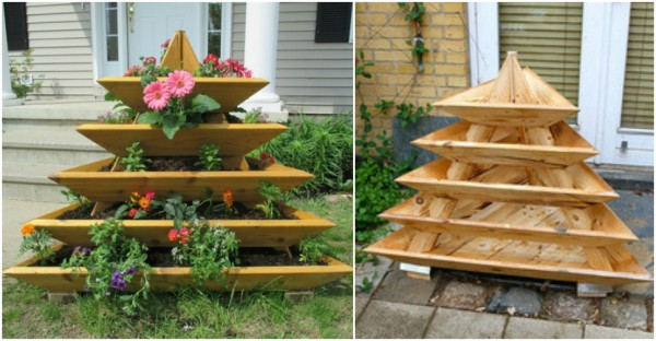 Wonderful DIY Vertical Garden Pyramid Planter4   DIY Vertical Garden Pyramid Planter  BeesDIY.com