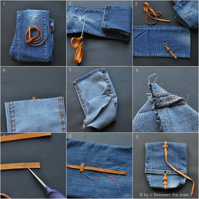 10 Unique Ideas for Recycled DIY Jeans Bag | BeesDIY.com