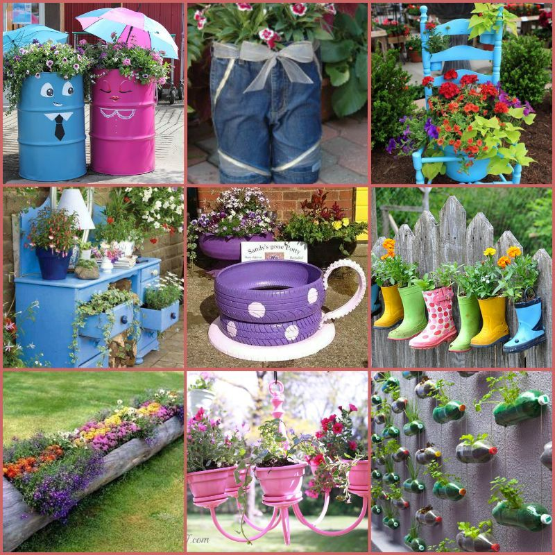 15 Creative Garden Ideas You Can Steal: Top 15 Low-Budget Upcycled DIY Garden Planters