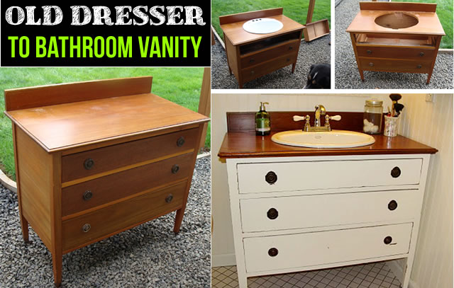 Bathroom Vanity Diy how to turn old dresser into diy vanity | beesdiy