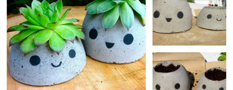 How to Make Cute DIY Concrete Planters