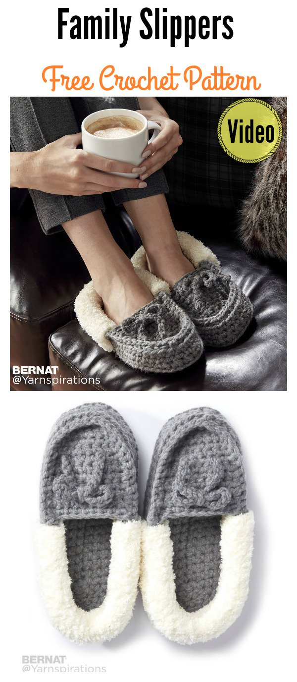 Crochet Family Moccasins Slippers (Free Pattern)