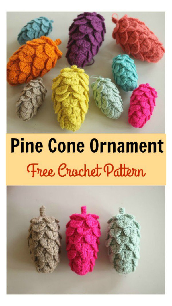 Crochet Pine Cone Ornament Free Pattern