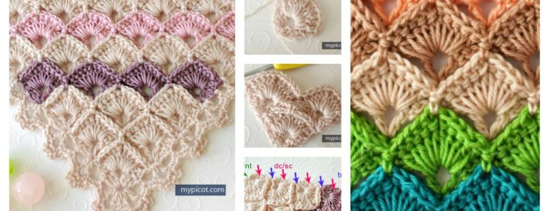 Crochet Triangle Shawl Box Stitch (Free Pattern)