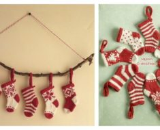 DIY knitted Mini Christmas Stocking Free Pattern