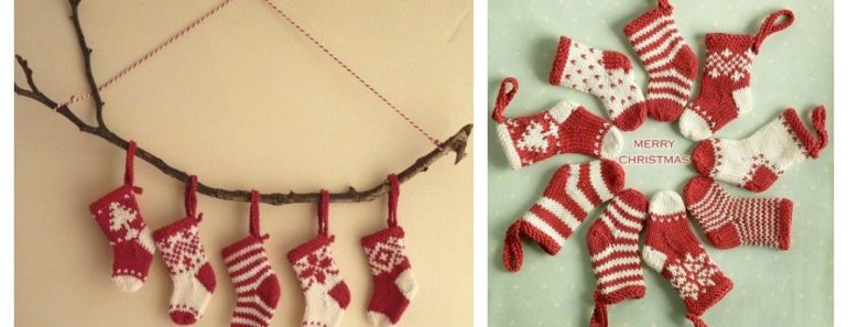 DIY Mini Knitted Christmas Stockings Free Pattern