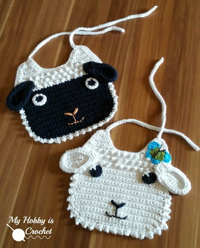 Little Lamb Crochet Baby Bib ( Free Pattern)