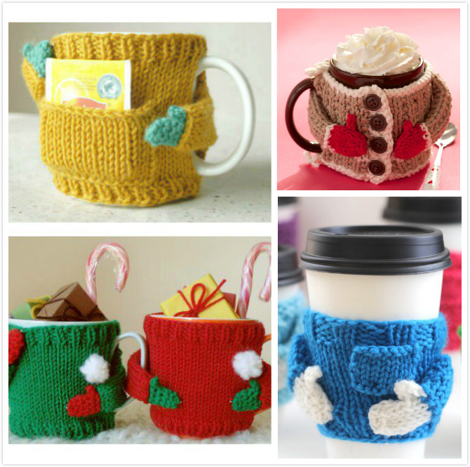 Knit Koozie Pattern : Knitted Mug Cozy Sweater Patterns BeesDIY.com