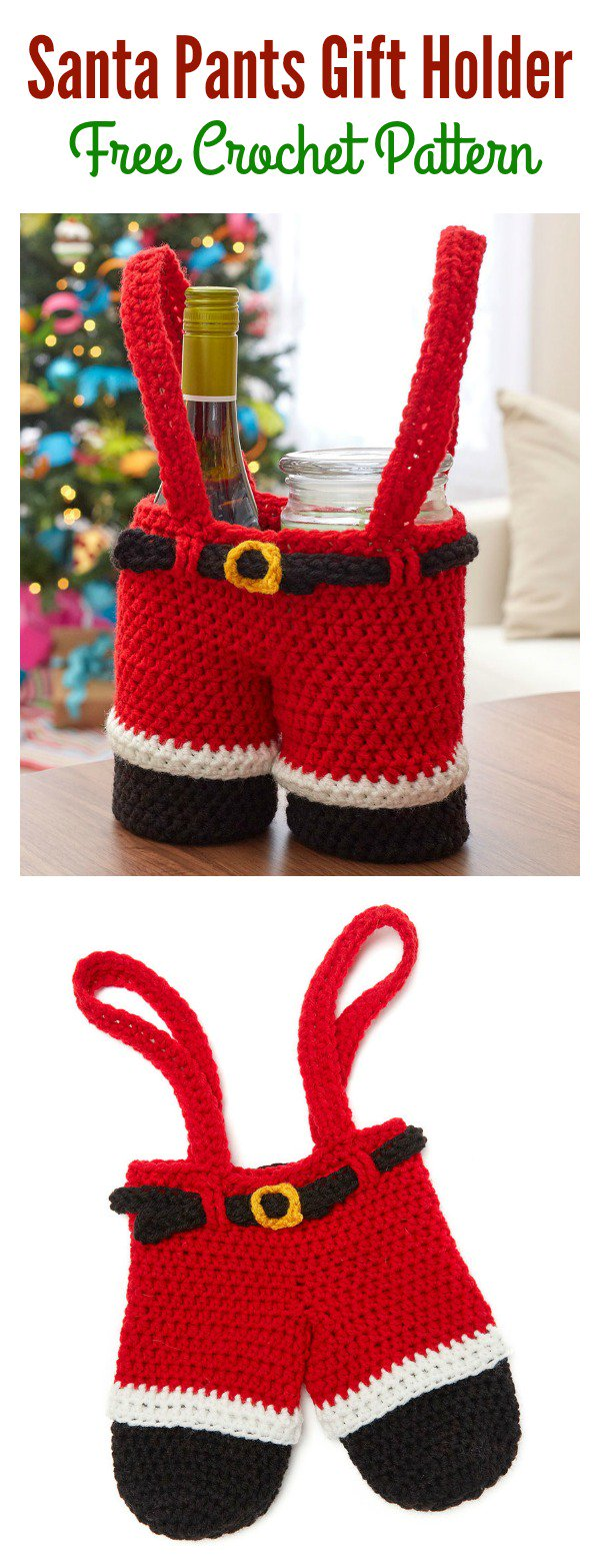 Crochet Santa Pants Gift Holder Free Pattern Beesdiy Com