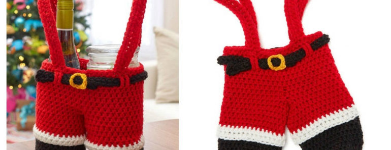 Crochet Santa Pants Gift Holder Free Pattern