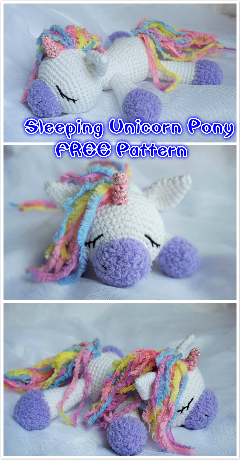 Crochet Sleeping Unicorn Pony Free Pattern Beesdiy Com