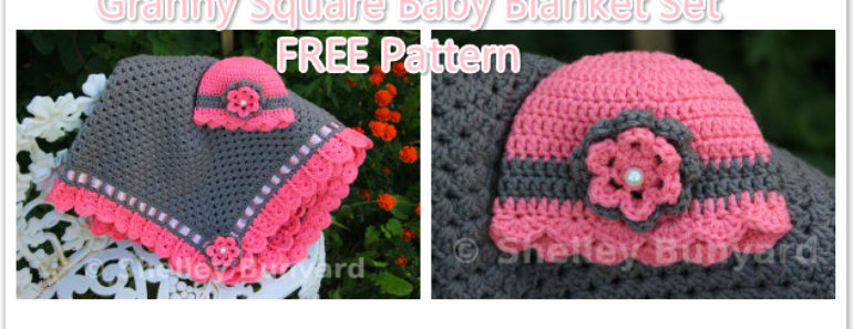 Granny Square Baby Blanket Set (Free Pattern)
